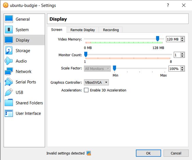 Configuring display of virtual machine