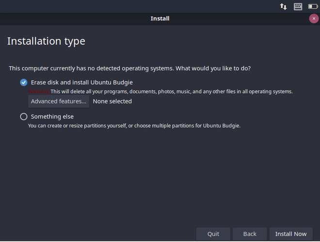 Select Erase and install option
