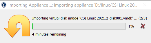 importing process started