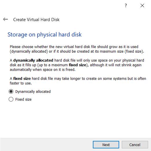 Configuring virtual hard disk