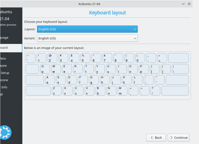 Selecting keyboard layout