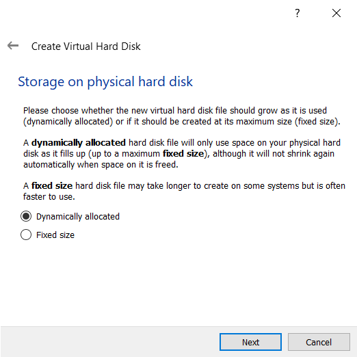 Dynamically Allocated Physical Hard Disk