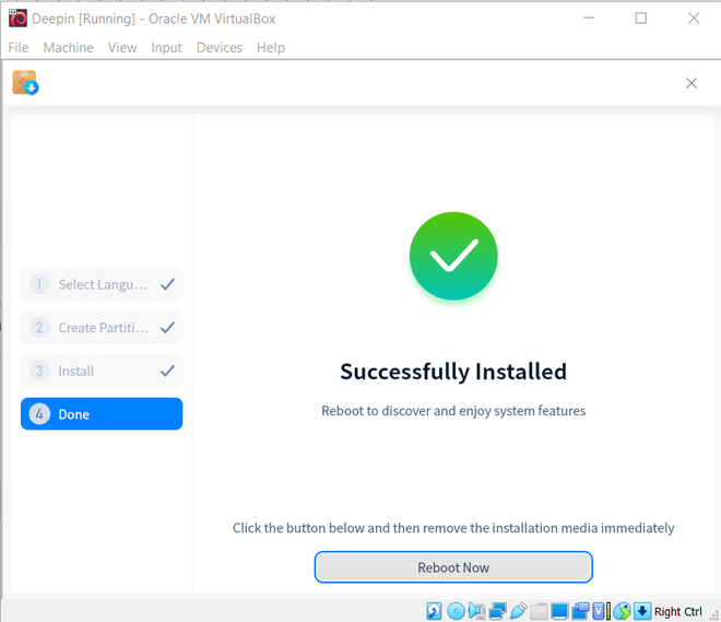 Successfully installed Deepin