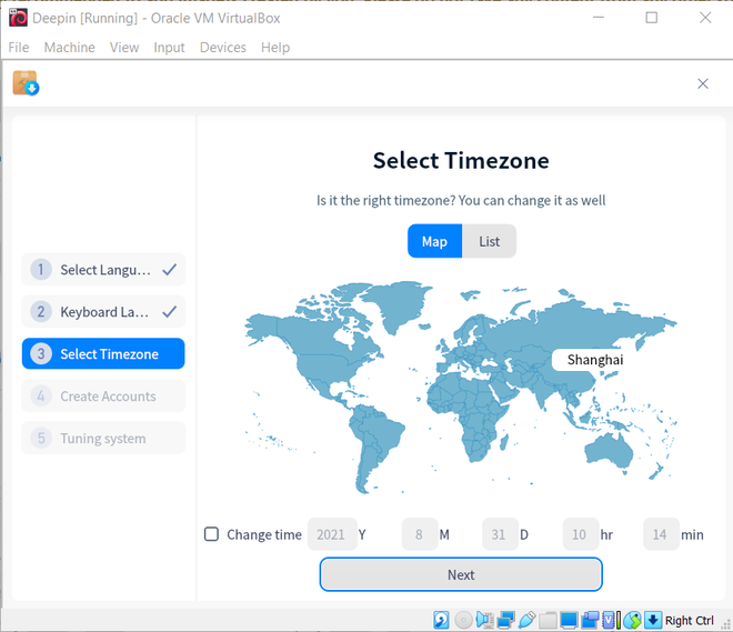 Selecting time zone