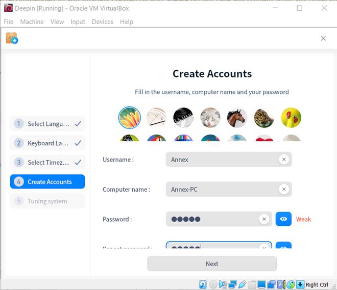 creating profile in Deepin