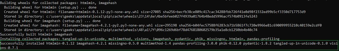 Installing Pandas profiling package in python