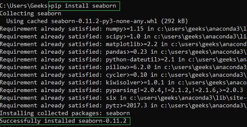 installing seaborn using PIP