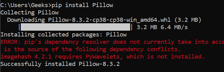 installing PIL package using PIP