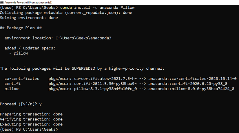 installing PIL package using conda
