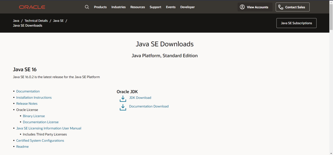 Click on JDK download