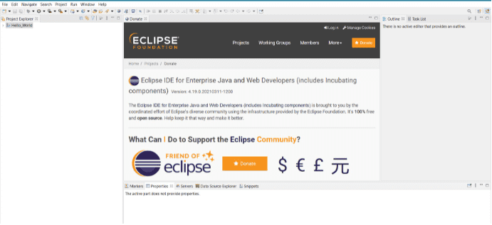 Homepage of Eclipse IDE