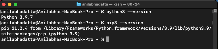 checking python and pip version in macos