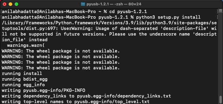 installing pyusb on macOS using the setup.py file