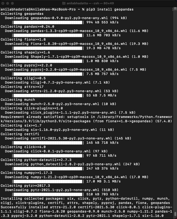 installing geopandas package on macOS using pip