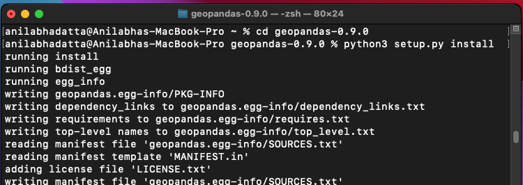 installing geopandas on macOS using the setup.py file