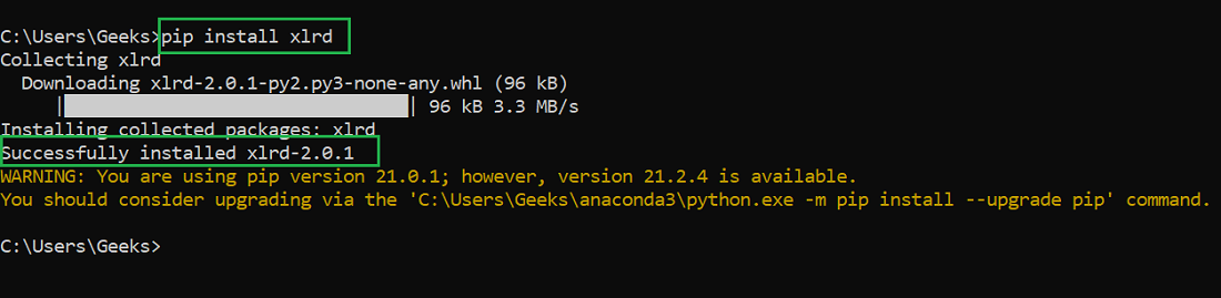 installing xlrd module in windows using pip