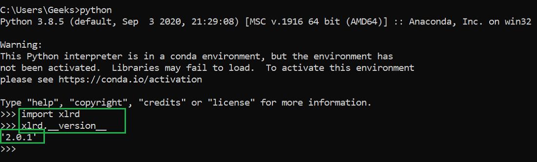 verifying xlrd module installation