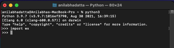Verifying wxPython installation on macOS