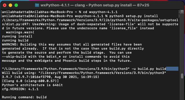 installing wxPython on macOS using the setup.py file