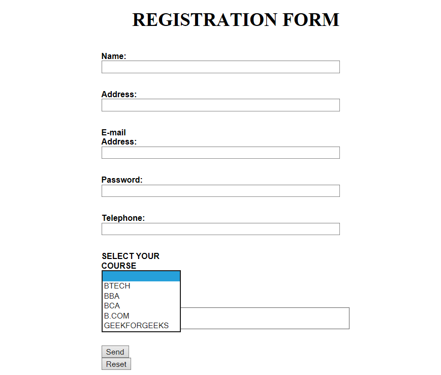 Form validation using HTML and JavaScript - GeeksforGeeks