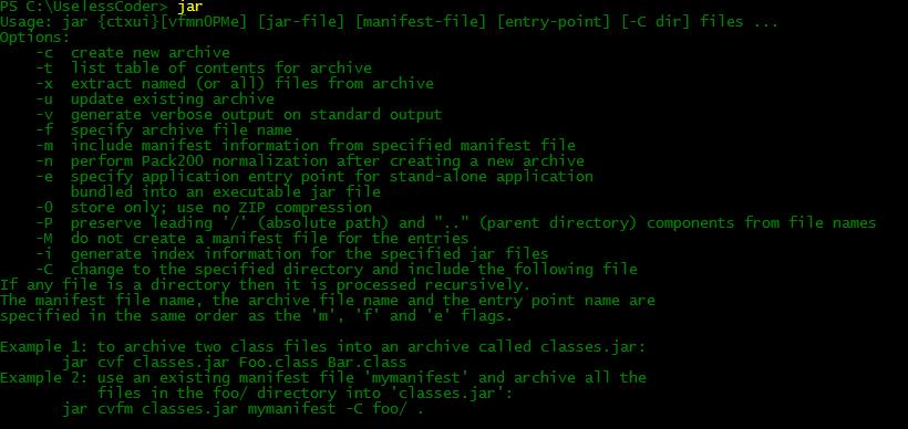 jar command options