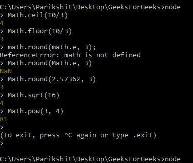 Math library methods gfg