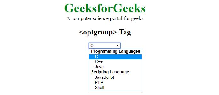 optgroup tag