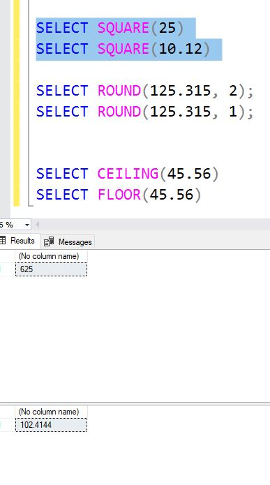 Sql Server Mathematical Functions Sqrt Pi Square Round Ceiling Floor Geeksforgeeks