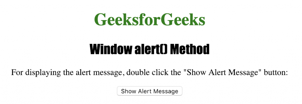 HTML | Window alert( ) Method - GeeksforGeeks