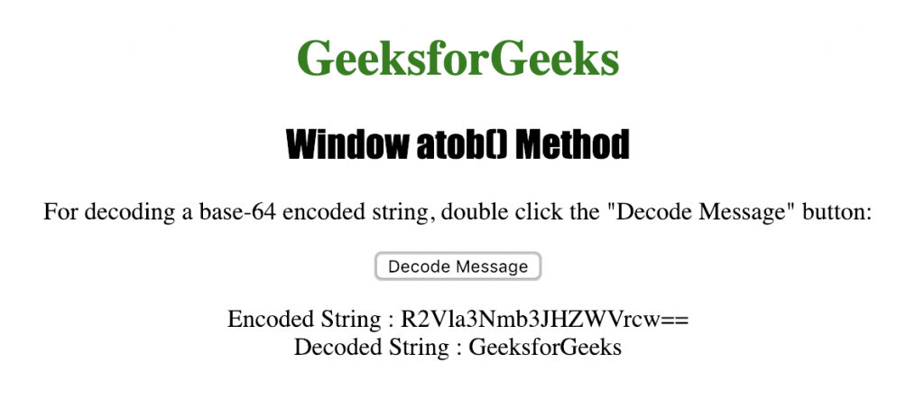 HTML | Window atob( ) Method - GeeksforGeeks