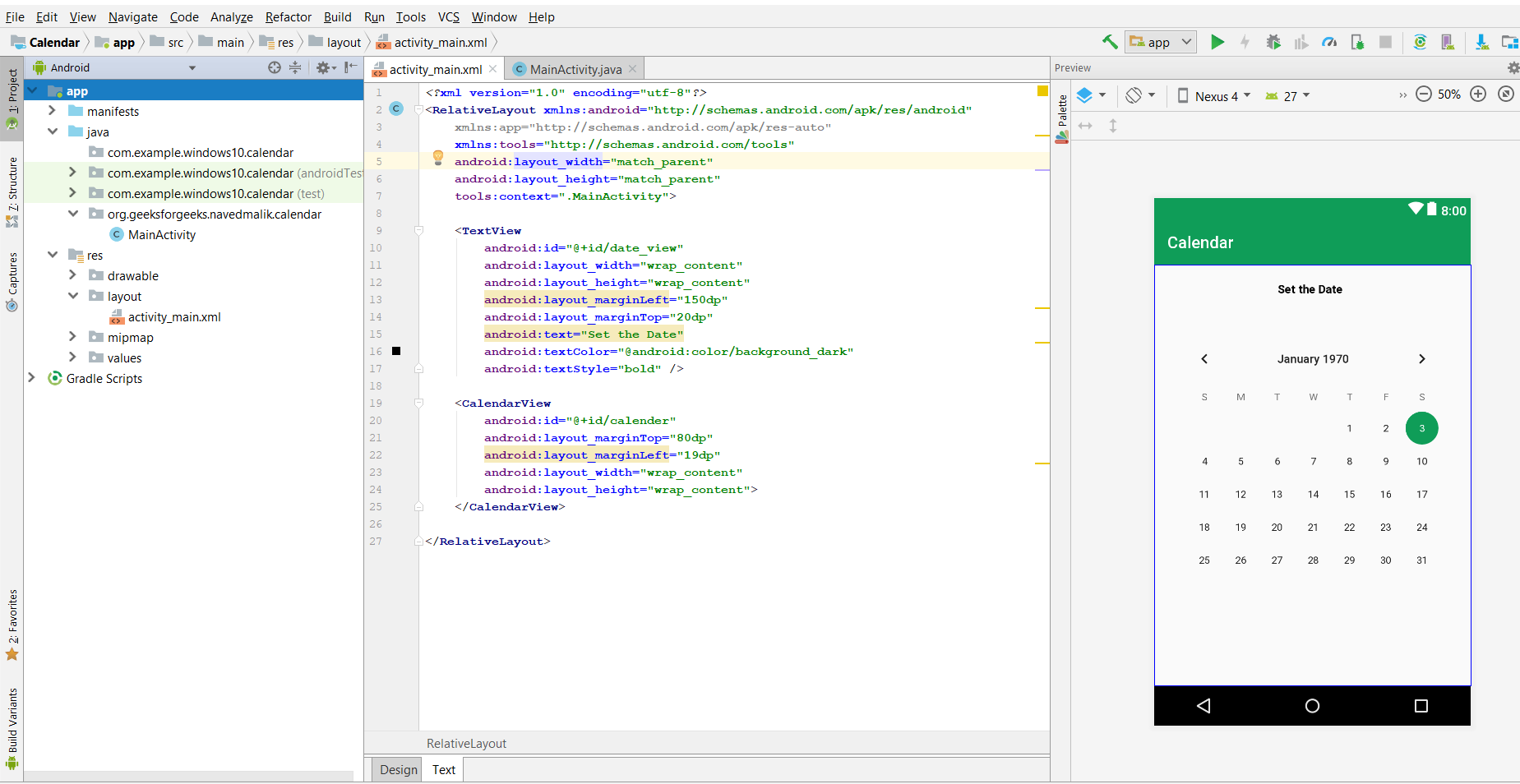 Android Creating A Calendar View App Geeksforgeeks