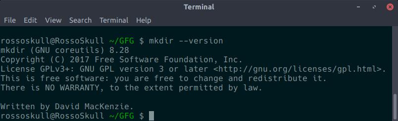 mkdir --version screenshot