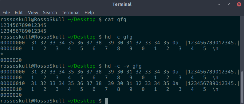 hexdump command in Linux with examples - GeeksforGeeks