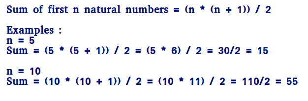 Program to find sum of first n natural numbers - GeeksforGeeks