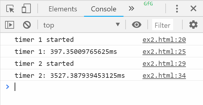 timeEnd example 2 console