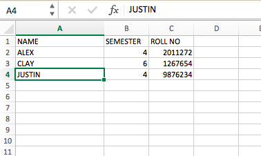 Sample excel file