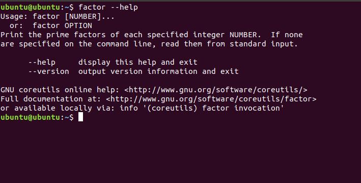 Factor help command