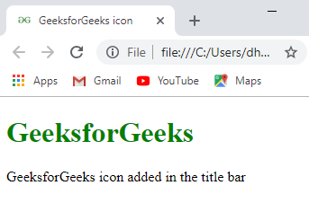 How To Add Icon Logo In Title Bar Using Html Geeksforgeeks