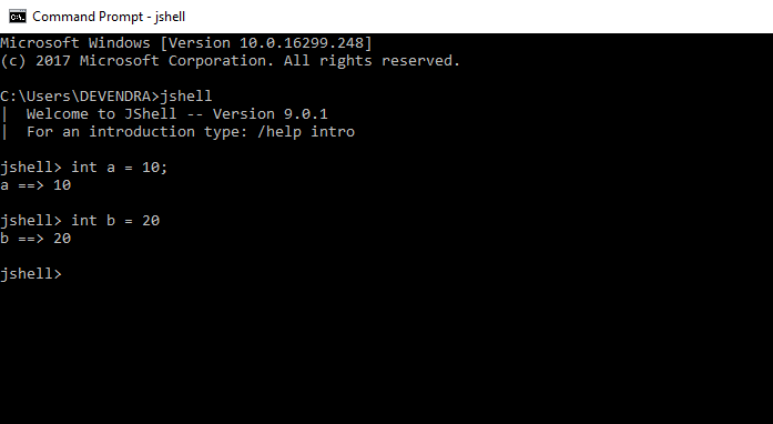 jshell variable
