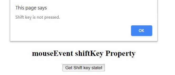 JavaScript | MouseEvent shiftKey Property - GeeksforGeeks