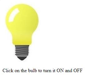 Turn on or off bulb using JavaScript - GeeksforGeeks