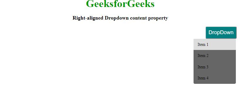 right aligned dropdown