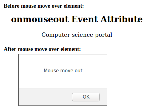 Onmouseout even output