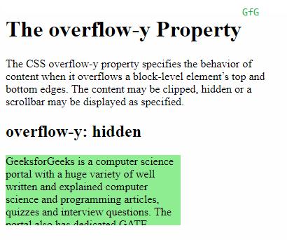overflow-y: hidden