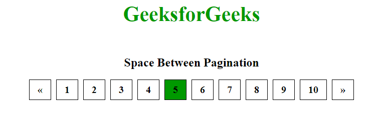 space between pagination