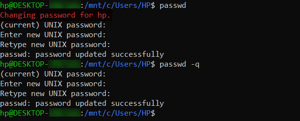 How to change password in unix account