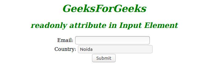 HTML | readonly Attribute - GeeksforGeeks
