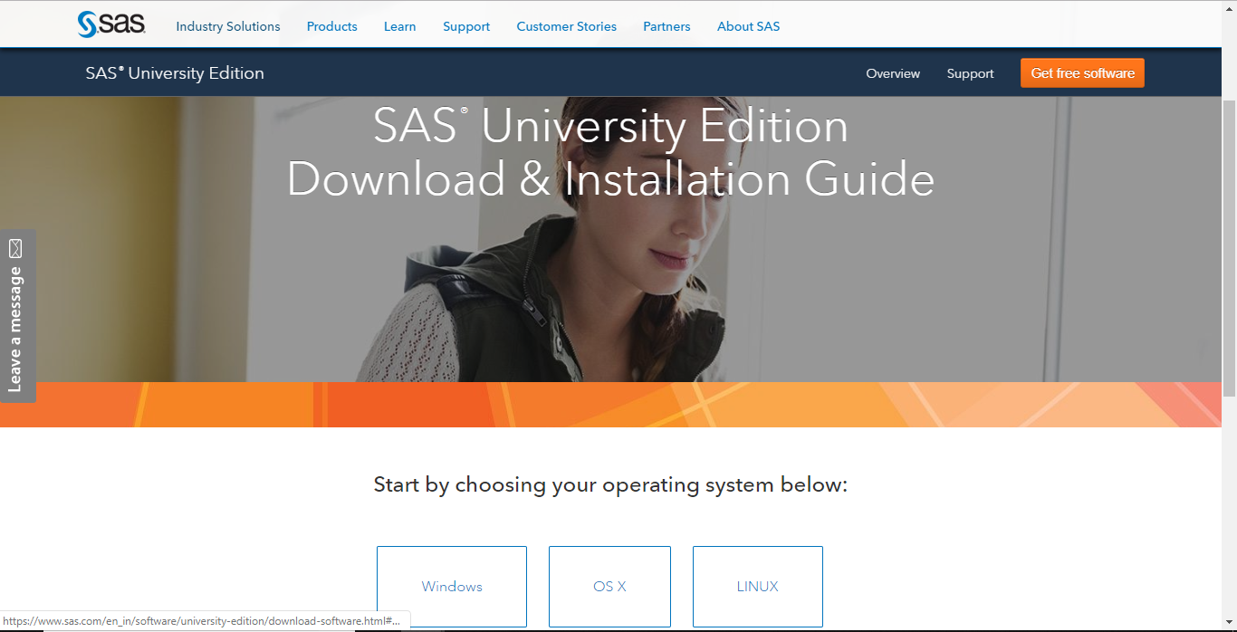 SAS University Edition download page