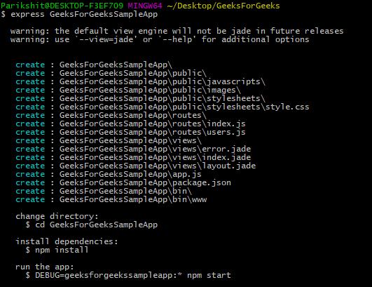 express app scaffolded gfg