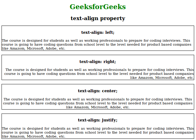 CSS   text-align Property - GeeksforGeeks